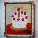 birthday 01/265 x 320mm/アクリル絵具/木製パネル/タイルフレーム