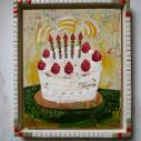 birthday 02/265 x 320mm/アクリル絵具/木製パネル/タイルフレーム